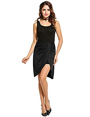 Zeagoo Women's Classic Slit Ruched Pleated Double Layer Asymmetrical Solid Hi Low Pencil Skirt(Black,Red,Gray)