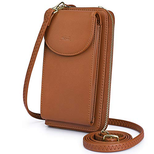 Purse Pouch Wallet - S-ZONE PU Leather RFID Blocking Cellphone Wallet Clutch Purse Zippered Crossbody Bag Phone Pouch (Brown RFID Blocking)