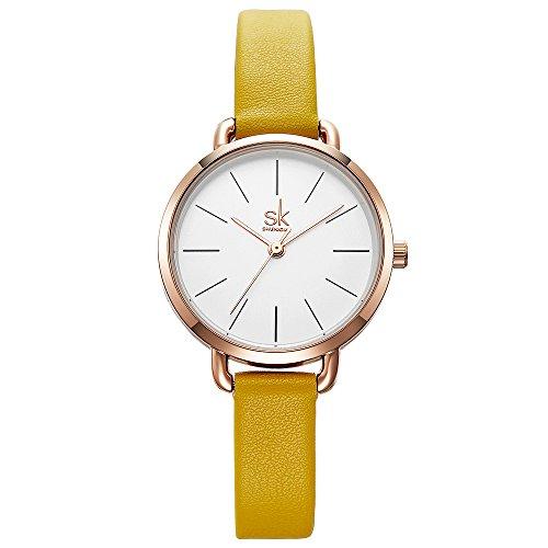 SK SHENGKE Cute Women Quartz Small Leather Wristwatch Cheap Watches for Women (K8021-Yellow) (Yellow Womens Dial)