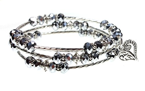 (Ornate Heart Charm Sparkling Faceted Bead Triple Wrap Bangle Bracelet)