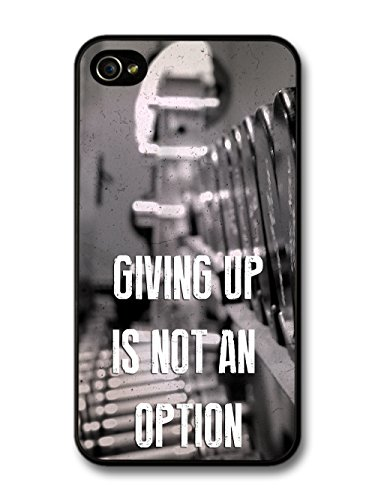 Gym Motivational Quote Giving Up Is Not An Option on Black and White coque pour iPhone 4 4S