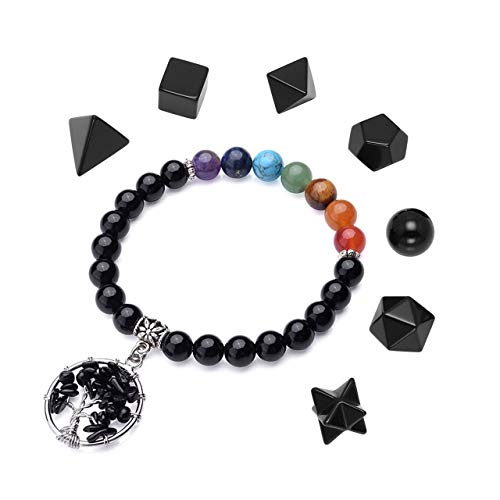 Top Plaza Black Obsidian Healing Crystals Kit Natural Stone Beads 7 Chakra Tree of Life Stretch Bracelet Platonic Solids Sacred Geometry Gemstones Set for Meditation Reiki Healing Balancing #2