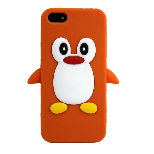 Apple iPhone 5 5S Pingouin Orange coque de protection silicone Soft Case coque Cover 3D thematys®