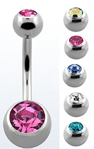 - EO Gas Sterilized Double Jeweled Belly Button Ring - 316L Stainless Steel Navel Ring 14G (Clear)