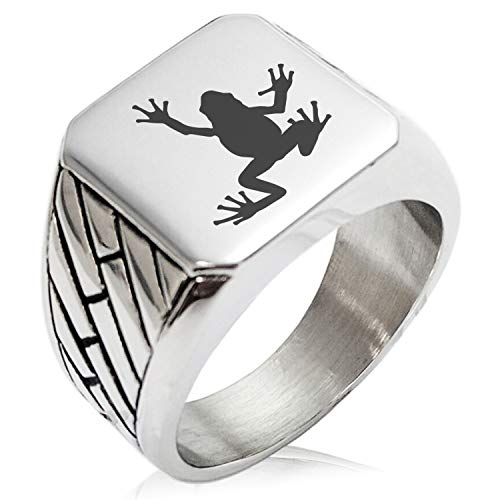 Two-Tone Stainless Steel Frog Geometric Pattern Biker Style Polished Ring, Size 11