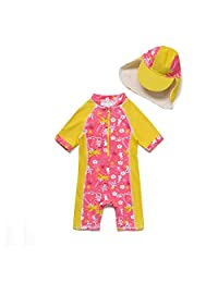 Bonverano Baby & Toddler Swimsuit Girls Short Sleeve Bathing Suits with UPF 50+ Sun Protection
