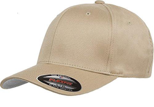 Original Flexfit Wooly Cotton Twill Cap 6277, Stretch Fit Baseball Cap w/Hat Liner L/XL Khaki