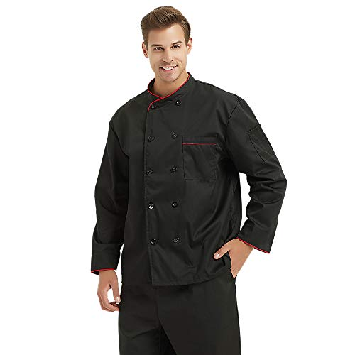 TopTie Unisex Long Sleeve Button Chef Coat, Black with Red by TopTie (Image #3)