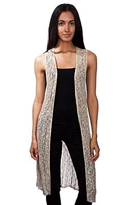 Knit Minded Junior's Novelty Crochet Slub Yarn Duster Sleeveless Open Front Long Vest Stone Made in USA
