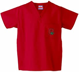 Gelscrubs Ohio State Buckeyes NCAA Classic Scrub 1 Pocket Top Leaf Logo  (Red) ( 7081601dd