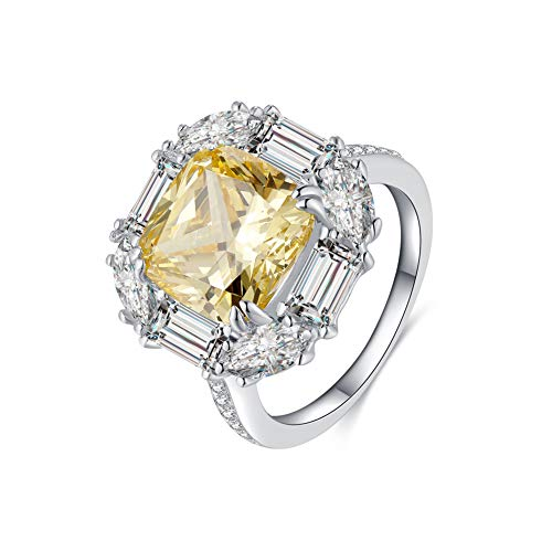 Erllo 4 Carat 10x10mm Yellow Cushion Cut Sona Simulated Diamond Cubic Zirconia Engagement Promise Anniversary Wedding Ring 925 Sterling Silver (7)