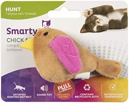 SmartyKat, Chickadee Chirp, Electronic Sound Cat Toy, Soft Plush Chirping Bird, Interactive, With Catnip and Stuffing