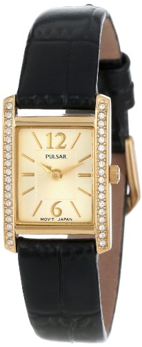 Pulsar Women's PEGC54 Crystal Accented Dress Black Leather Strap Watch