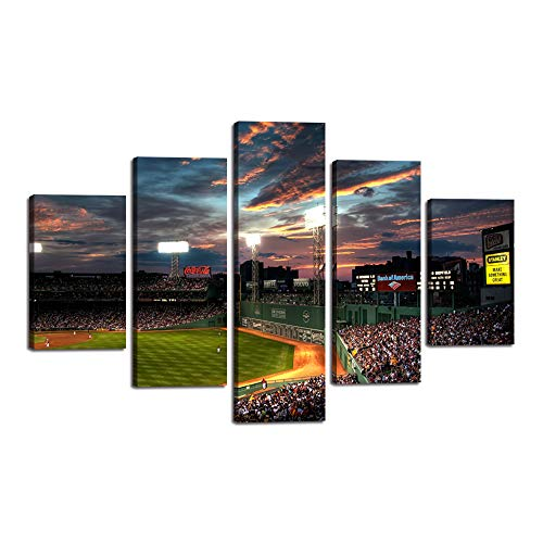 Yatsen Bridge Landscape Canvas Prints 5 Panels Fenway Park Painting Poster Baseball Game Wall Art Picture Decor for Living Room Bedroom Kitchen Office Home Present Framed Ready to Hang (60