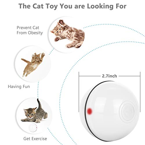 SHU UFANRO Cat Toys Ball Smart Interactive Cat Toy Automatic 360 Degree Self-Rotating Ball USB Rechargeable Build-in Spinning LED Light Pet Toy for Indoor Kitty Exercise Toys 4