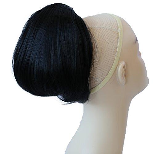 PRETTYSHOP BUN Up Do Hair Piece Hair Ribbon Ponytail Extensions Draw String Scrunchy Scrunchie Wavy Messy Black # 1 H401