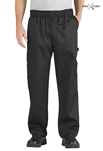 Sueded Twill Pants (Chef Code Cargo Pants Cotton Elastic Waist Chef Pants (Black, 2XL))