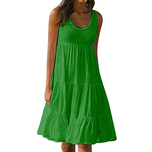 ZOMUSAR Holiday Summer Solid Sleeveless Party Ladies Beach Dress