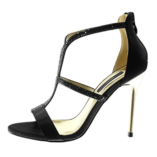 Angkorly Damen Schuhe Pumpe Sandalen - Stiletto - Hohe - Strass - Multi-Zaum Stiletto High Heel 10.5 cm Schwarz