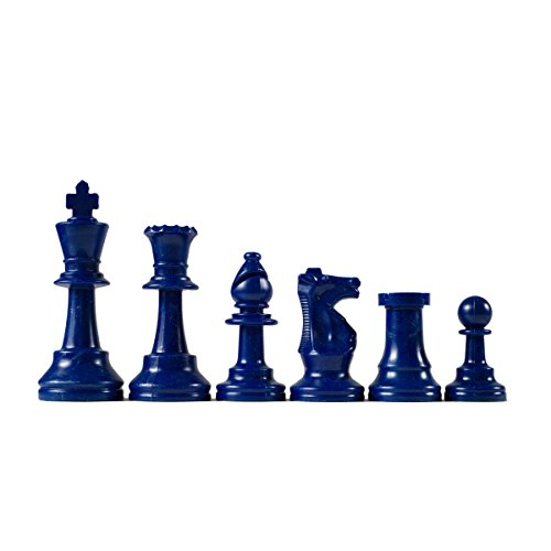 Wholesale Chess Triple Weighted Staunton Colored Pieces (Blue) (Weighted Pieces Staunton Chess)