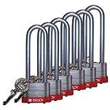 Steel Key-Retaining Keyed Alike 3'' Shackle Steel Locks, Blue - 6 Per Set