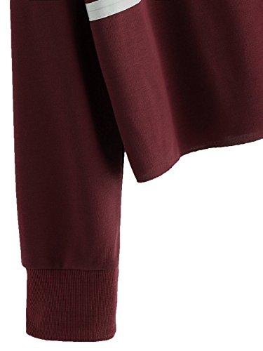 adf17acc0e7 ROMWE Women's Casual Striped Long Sleeve Crop Top Sweatshirt Burgundy S