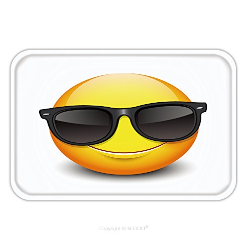 Flannel Microfiber Non-slip Rubber Backing Soft Absorbent Doormat Mat Rug Carpet Cute Smiling Emoticon Wearing Black Sunglasses Emoji Smiley Vector Illustration 434246203 for - Sunglasses Tahoe