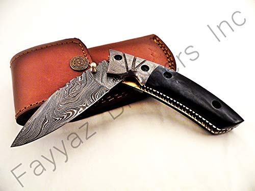 Folder Double Bolster (FAYYAZ BROTHERS Handmade Damascus Steel Pocket Folding Knife/Pocket Knife AA-15197 (Dark Grey Colored Bone))