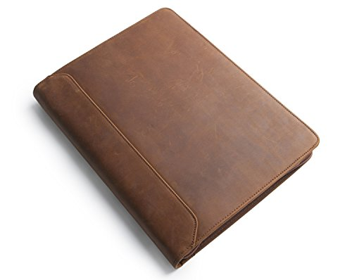 [Personalized Custom] Leather Padfolio 3 Ring Binder Portfolio Case for iPad Pro/Surface Pro/MacBook, Zippered Business Organizer with Letter Size Notepad Holder, Gift for Women & Men, ()