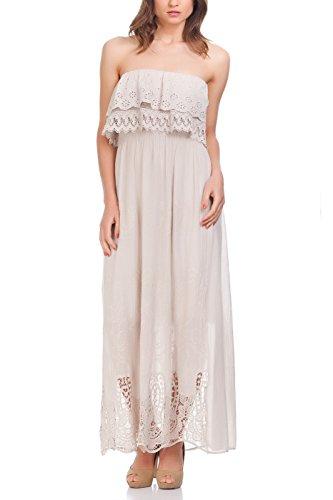 Laura Moretti - Vestido con detalles étnicos bordados en la parte superior e inferior Beige