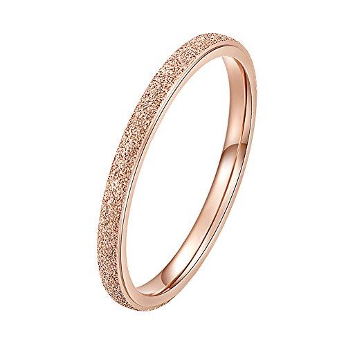 INRENG Women's Stainless Steel Sandblast Stacking Ring Engagement Wedding Couple Rings Band Rose Gold 2mm Size ()