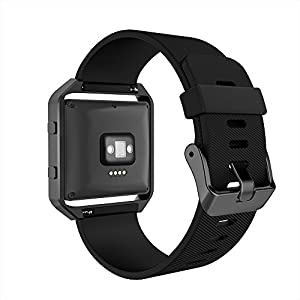 Simpeak Fitbit Blaze Bands with Frame, Silicone Replacement Band Strap with Black Frame Case for Fit bit Blaze Smart Fitness Watch, Small, Black