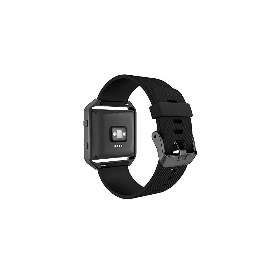 Simpeak for Fitbit Blaze Bands with Frame, Silicone Replacement Band Strap with Frame Case for Fit bit Blaze Smart Fitness Watch, Small/Large