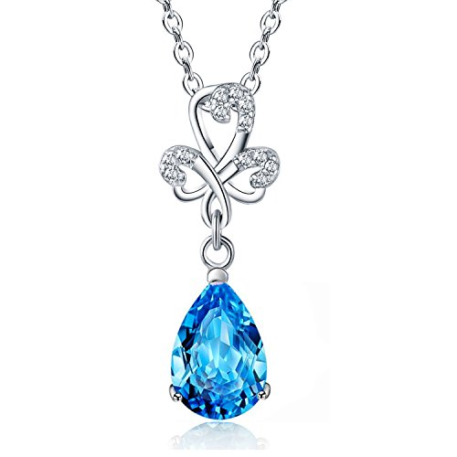 Sephla White Gold Plated 925 Silver Women Jewelry Peal Shape Cubic Zirconia Earrings And Necklace (Blue Necklace 2) ()