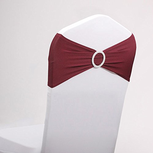 LOVWY 20 Colors Optional 50 PCS Spandex Stretch Chair Sashes Bows For Wedding Party Engagement Event Birthday Graduation Meeting Banquet Decoration (50 PCS, ()