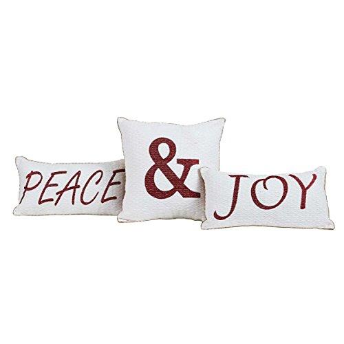 (VHC Brands Christmas Holiday Pillows & Throws - Vintage Stripe White Peace & Joy Pillow Set)
