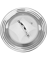 Universal Lid for Pots, Pans and Skillets, Stainless Steel and Tempered Glass, Fits All 7 Inch to 12 Inch Pots and Pans, Replacement Cookware Frying Pan Cover and Cast Iron Skillet Lid