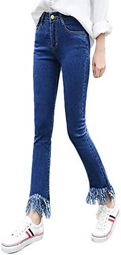 Plaid&Plain Women's Wide Leg High Waist Fringe Hems Slim Tight Casual Jeans