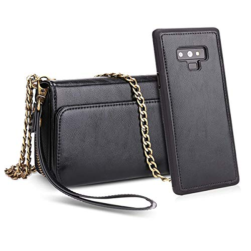Petocase Compatible Galaxy Note 9 Wallet Case, Multifunctional PU Leather Wrist Chain Crossbody Strap Clutch Detachable Magnetic Card Slots Cash Purse Protection Cover for Samsung Galaxy Note 9 Black
