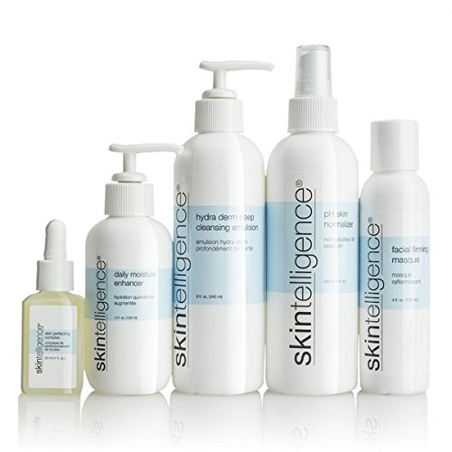 Skintelligence® Five-piece Set - Includes Hydra Derm Deep Cleansing Emulsion, Ph Skin Normalizer, Daily Moisture Enhancer, Skin Perfecting Complex, Facial Firming Masque (Single Bottles) by Skintelligence