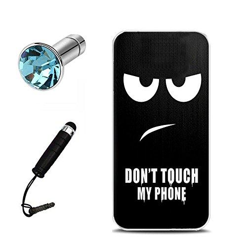 Lusee® Funda de silicona para Vodafone Smart Platinum 7 / Smart Pro 7 5.5 pulgada Suave Cascara TPU Negro Dont touch my phone