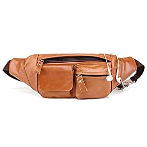 Oivias Waist Pack Bag for Men, Leather Chest Bag with Adjustable Strap for Outdoors Workout Traveling Casual Running Hiking Cycling(Size:38 * 3 * 11cm) (Color : Brown)