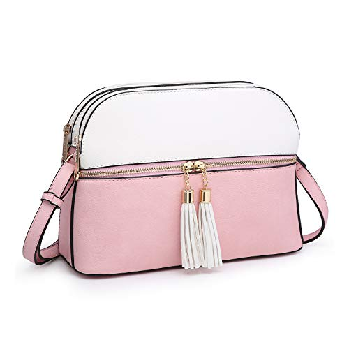 Functional Multi Pockets Lightweight Medium Crossbody Bags Purses for Women Double Zipper Shoulder Messenger Bag with Tassel (White/Pink)