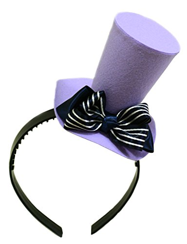 Lavender Felt Mini Top Hat Striped Bow Headband Mad Hatter Alice in Wonderland (Mad Hatter Alice In Wonderland Costume)