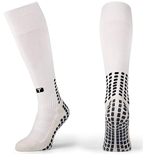 (TRUSOX Unisex Cushioned Over Knee High Soccer Football Socks, No Slip with Grip Pads, 1 Pair, Small, White, Shoe Size US(M 3-6.5, W 4-7.5)  )