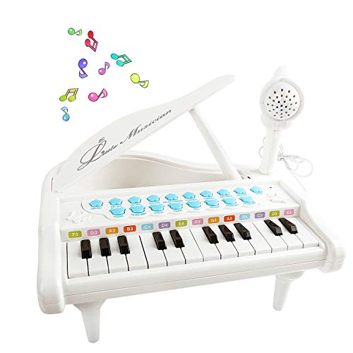 M SANMERSEN Piano Keyboard Toys for 1 2 3 4 Year Old Toddlers Baby, 24 Keys Mini Keyboard Piano Multi-Functional Electronic Musical Piano Toys with Microphone Toys for Girls Boys Birthday Gifts White