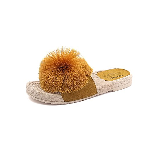 Wool Ball Woven Rope Slip Non Bottom FORTUN Sandals Flat Slippers Hemp Cute Yellow Women p8U0Tnxgqw