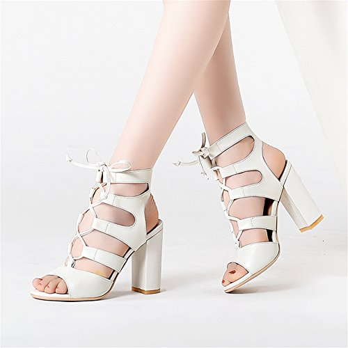 Sandales NVXIE Chaussures Club Blanc Talon Cheville Épaisses Noir Taille Open Bloc Toe Femme white rgXqvr