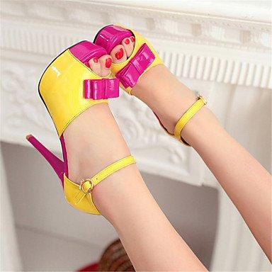 LvYuan Mujer-Tacón Stiletto-Innovador-Sandalias-Boda Oficina y Trabajo Vestido Informal Fiesta y Noche-Cuero Patentado Materiales Personalizados- Yellow