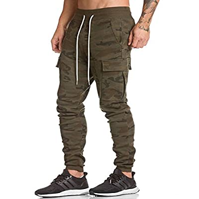 Men's Gym Fitness Workout Pants Bodybuilding Tapered Athletic Joggers Running Pants with Zippered Cargo Pockets